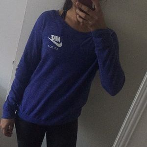 Heather Blue Nike Long Sleeve Crewneck Sweatshirt